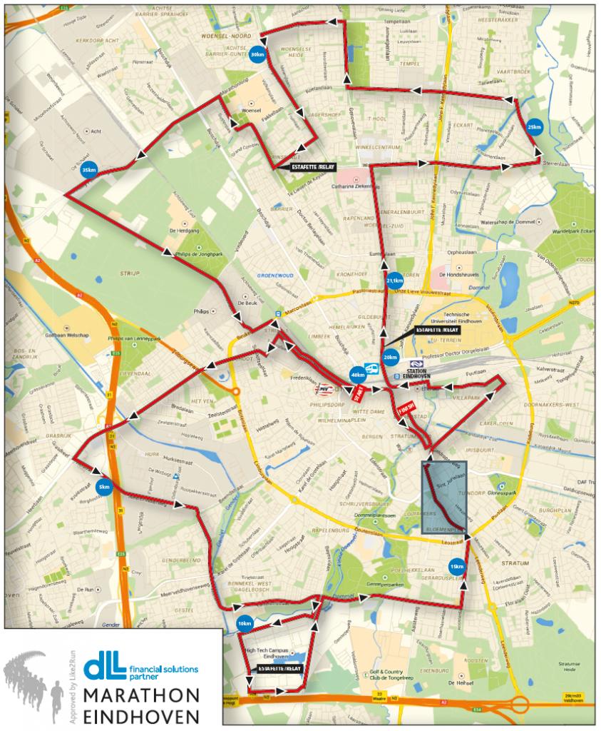 Afsluitingen en omleidingen bij Hovenring tijdens marathon ...